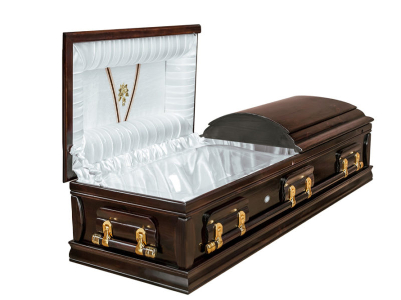 Casket vs Coffin Manufacturers, Standard Coffin Size, Caskets Prices, Prices of Coffins in South Africa, Caskets for Sale. Dark Stain Dome Open