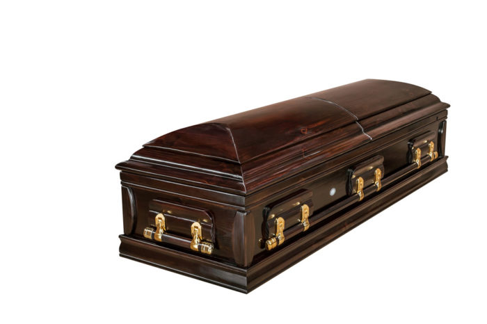 Casket vs Coffin Manufacturers, Standard Coffin Size, Caskets Prices, Prices of Coffins in South Africa, Caskets for Sale. Dark stain Dome Closed