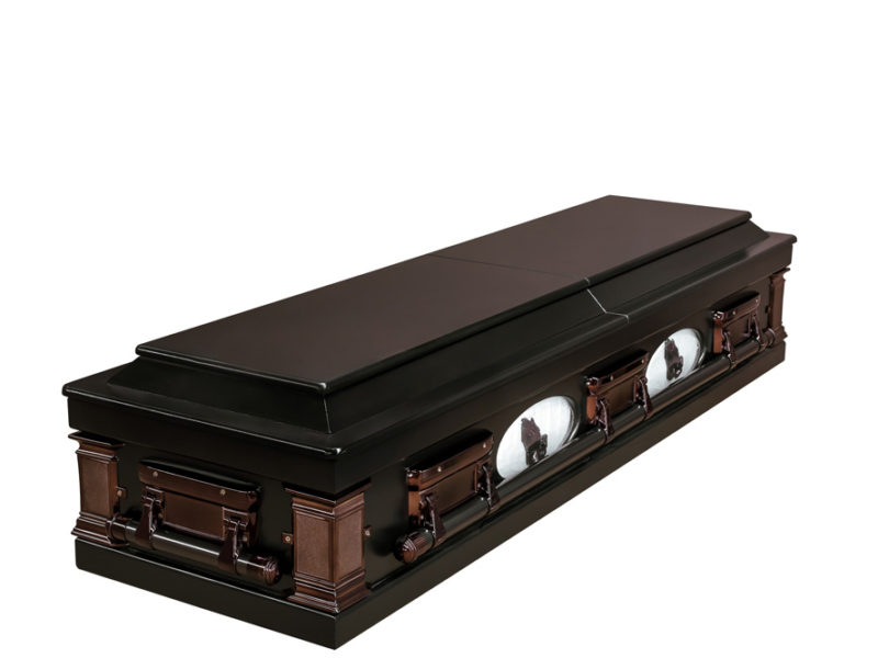 Casket vs Coffin Manufacturers, Standard Coffin Size, Caskets Prices, Prices of Coffins in South Africa, Caskets for Sale. Darkstain Porthole Casket Closed