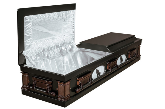 Casket vs Coffin Manufacturers, Standard Coffin Size, Caskets Prices, Prices of Coffins in South Africa, Caskets for Sale. Darkstain Porthole Casket Open