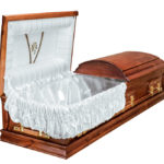 Casket vs Coffin Manufacturers, Standard Coffin Size, Caskets Prices, Prices of Coffins in South Africa, Caskets for Sale. Light Stain Dome Open