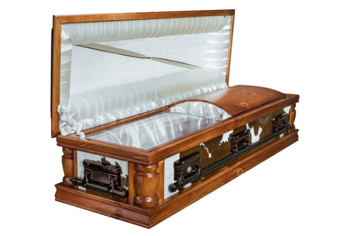 Casket vs Coffin Manufacturers, Standard Coffin Size, Caskets Prices, Prices of Coffins in South Africa, Caskets for Sale. Nguni Dome Brown & White Open