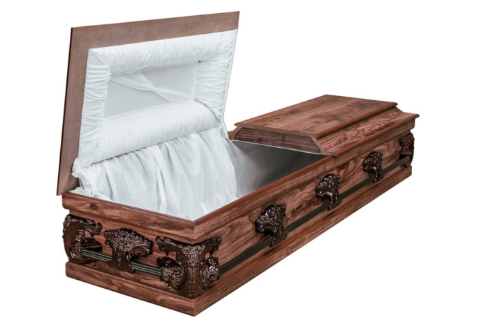 Casket vs Coffin Manufacturers, Standard Coffin Size, Caskets Prices, Prices of Coffins in South Africa, Caskets for Sale. Redwood Halfview Casket RS Bronze Open
